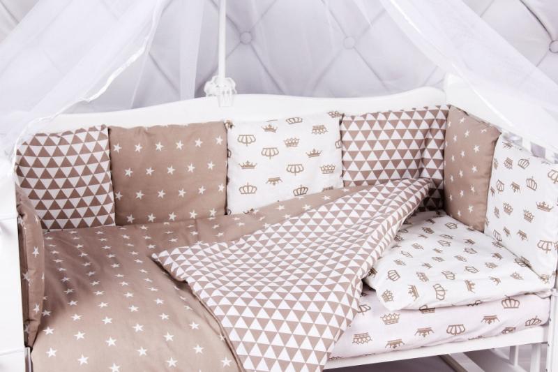 Купить Бортик в кроватку 12 предметов AmaroBaby ROYAL BABY коричневый, Бортики в кроватку для новорожденных