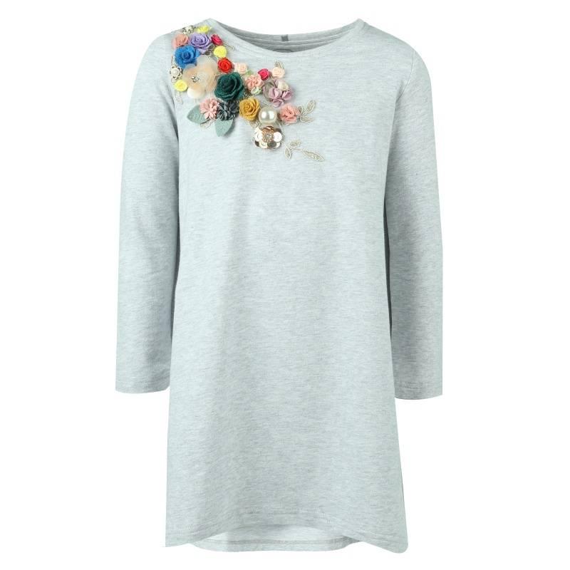Купить 2026d, Платье UNONA GO, цв. серый, 134 р-р, Платья для девочек