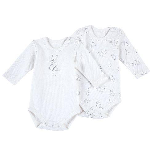 Купить 09011425, Комплект боди 2 шт. Chicco длинный рукав для мальчиков и девочек р.80 цв.белый, Боди для новорожденных