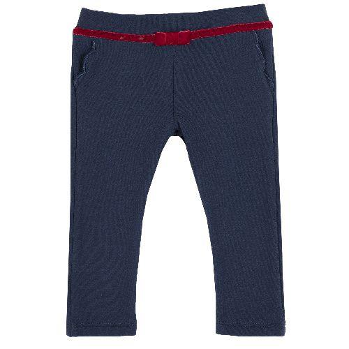 Купить 9008049, Брюки Chicco Красный ремень для девочек р.86 цв.темно-синий, Детские брюки и шорты