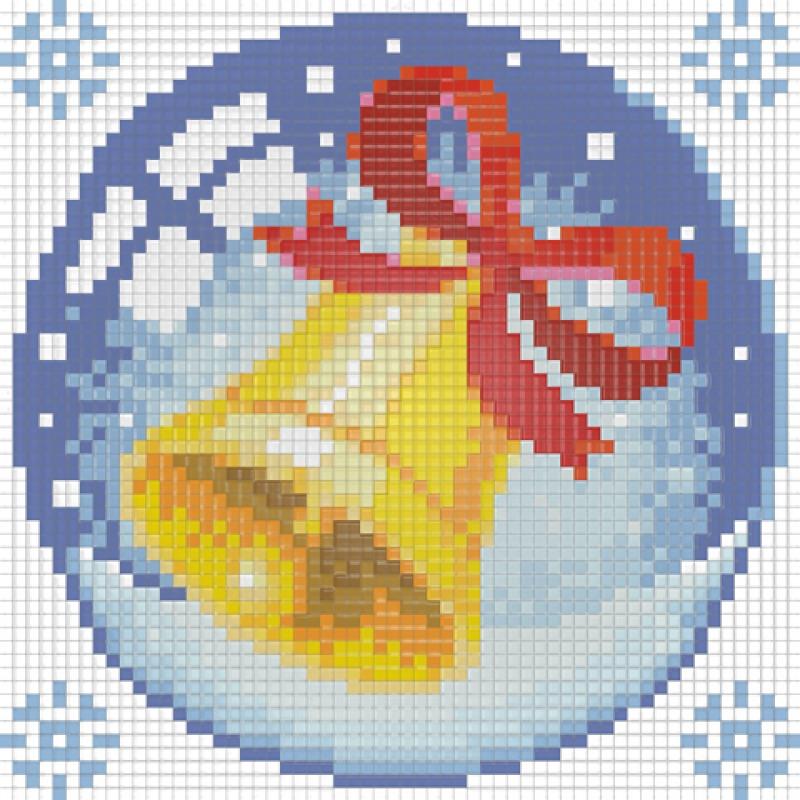 """Картина стразами """"Новогодний шарик с колокольчиком"""" (АЖ-1257) Алмазная живопись"""