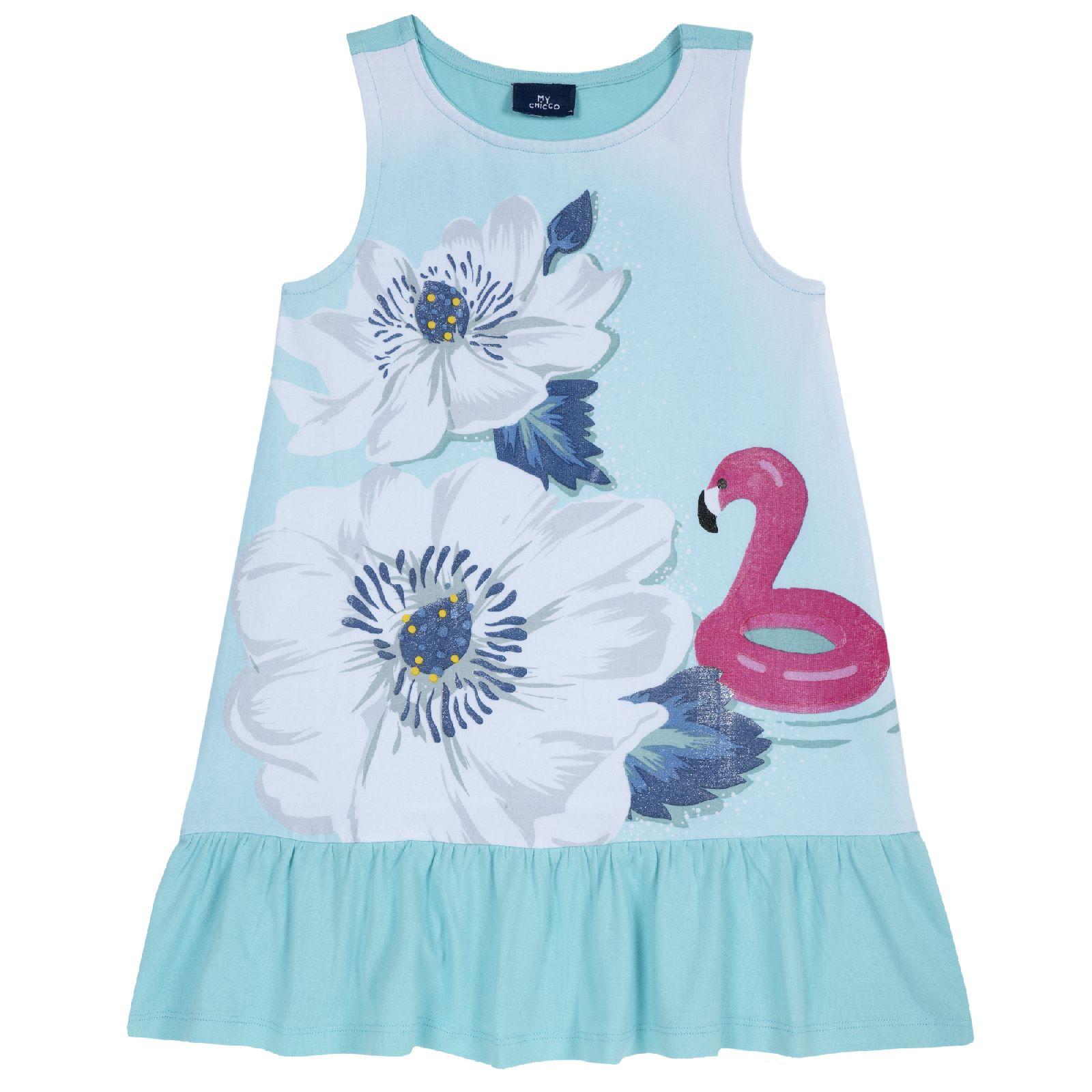 Купить 09003469, Платье Chicco р.110, Цветы и фламинго, цвет бело-голубой, Платья для девочек