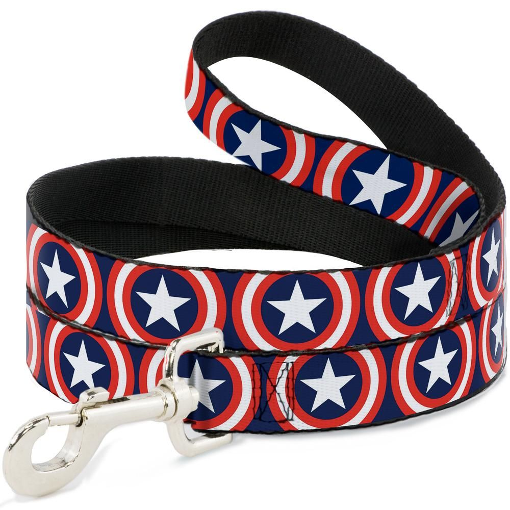 Поводок для собак Buckle-Down Капитан Америка, полиэстер, сталь, синий, 120 см фото