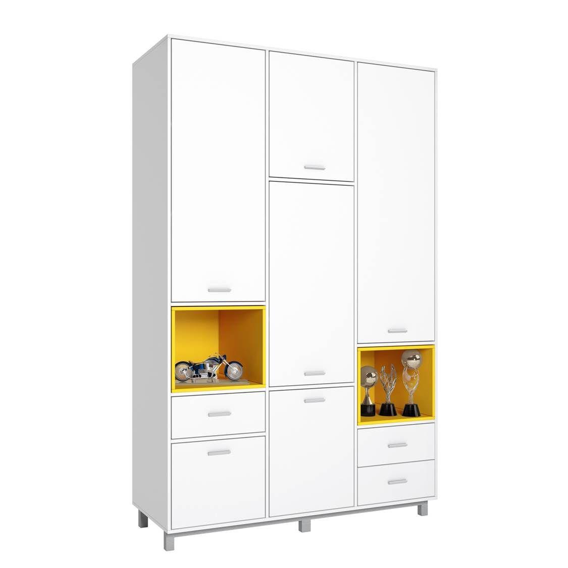 Купить Детский шкаф трехсекционный Polini kids Mirum 2335, белый, желтый, Шкафы в детскую комнату