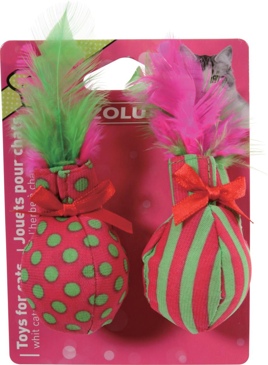 Игрушка Zolux мягкие мячики с пером и мятой для кошек 2 шт