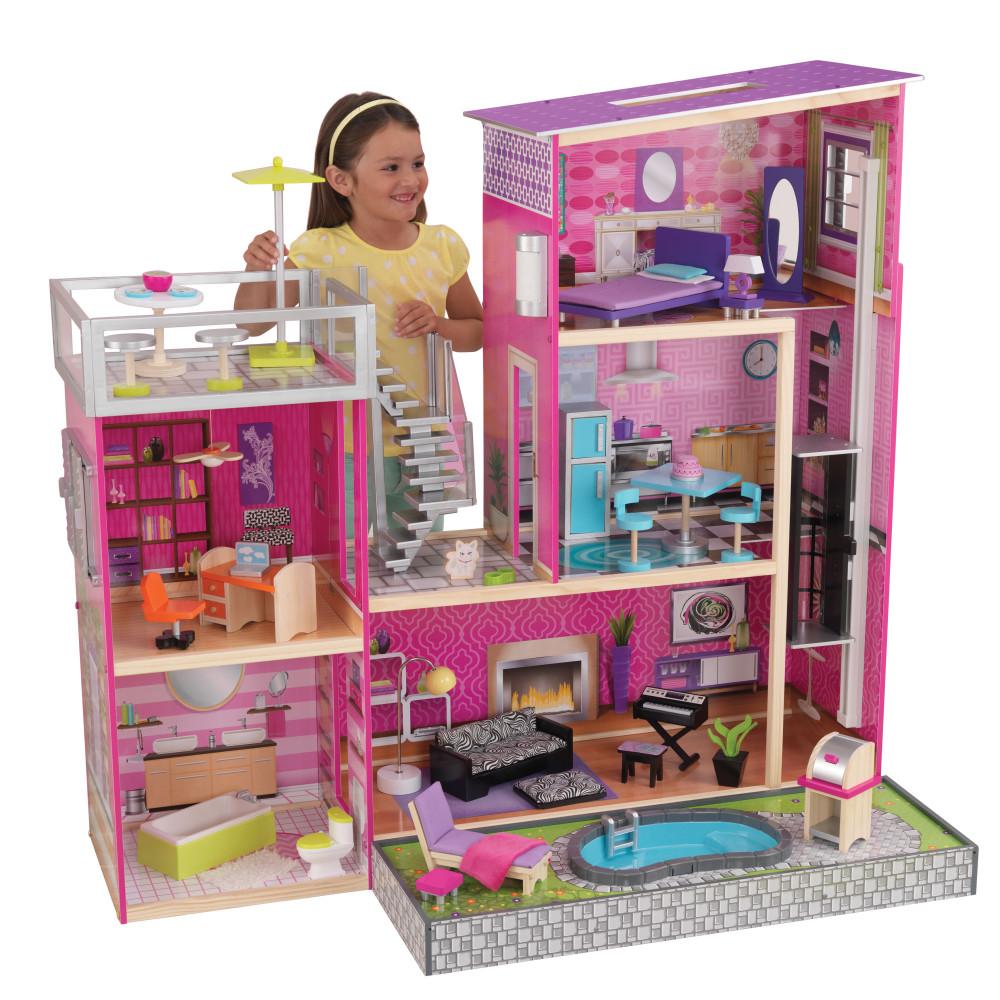 Купить Кукольные домики, Дом мечты KidKraft Барби Глянец с мебелью 35 предметов и бассейном