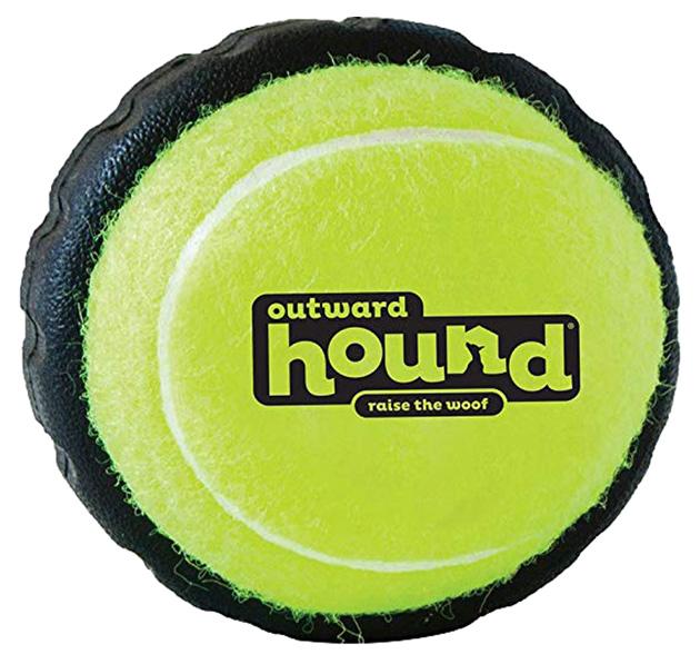 Мяч для собак Petstages Теннисный мячик с шиной, желто-черный, 7 см фото