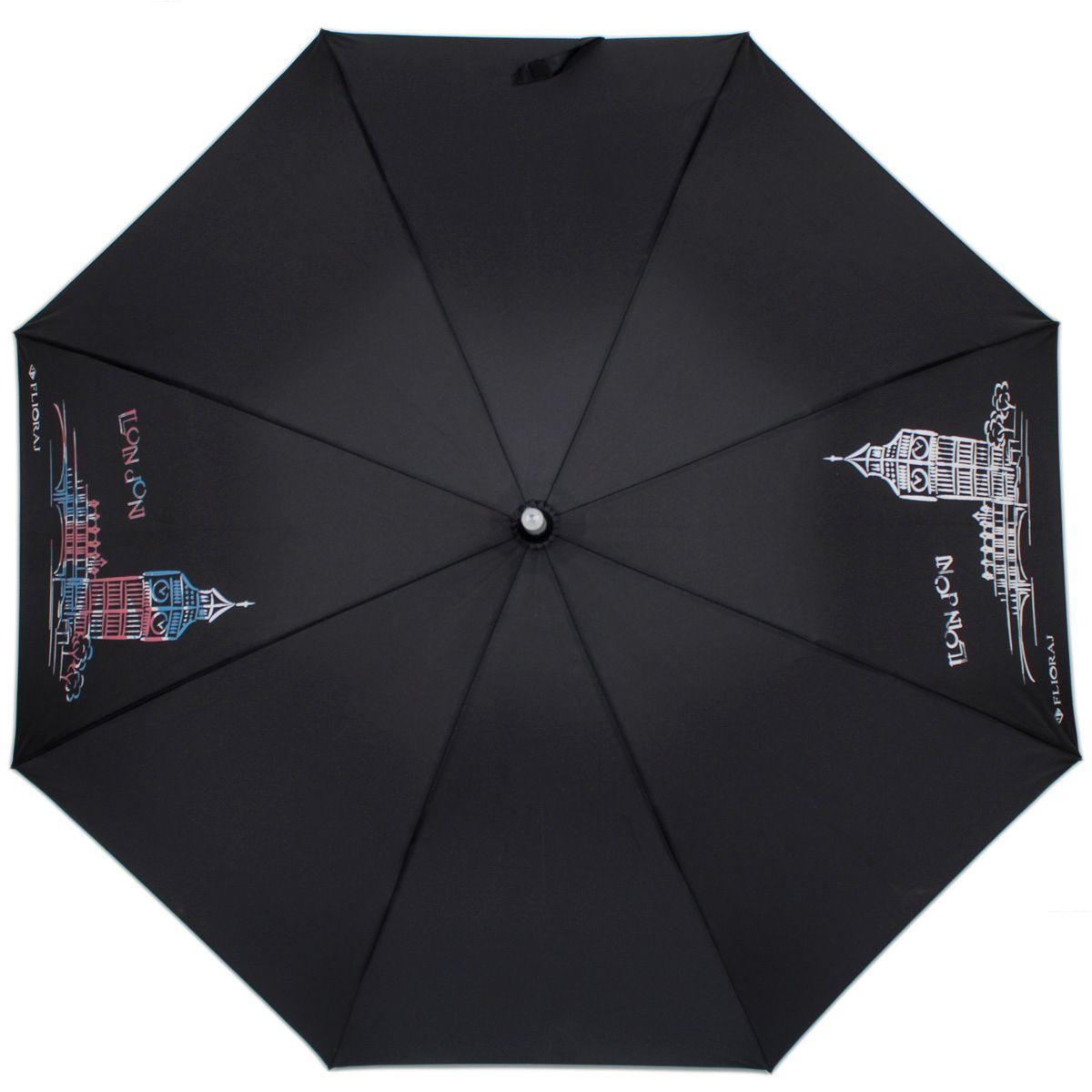 Зонт-трость женский механический Flioraj 300802 FJ черный