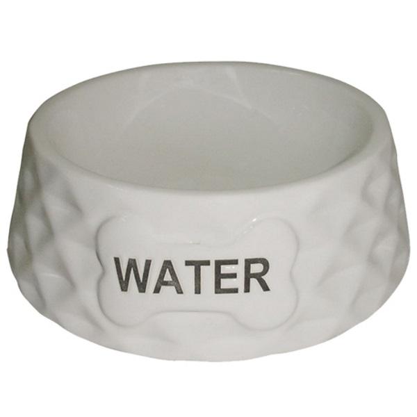 Миска для животных FOXIE Diamond Water белая керамическая 15,5х15,5х5см 200мл фото