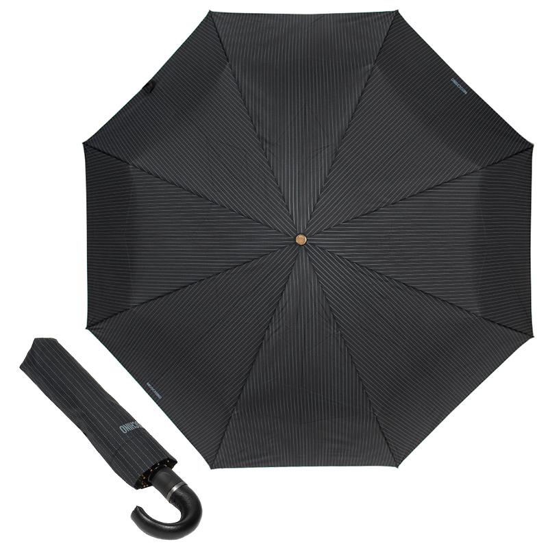 Зонт складной мужской автоматический MOSCHINO M/8509-TOPLESSA/Pinstripes черный