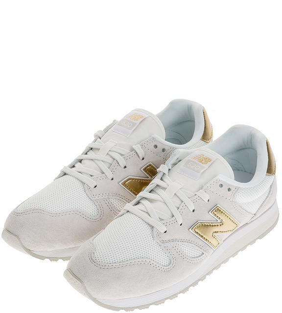 Кроссовки женские New Balance WL520GDA/B белые/серые/золотистые