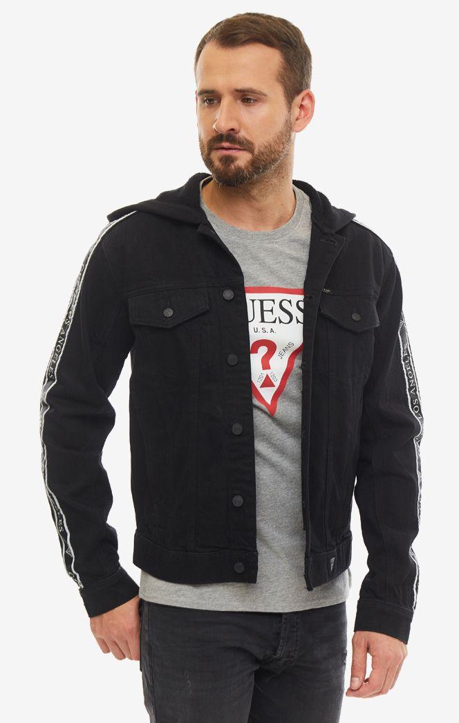 Джинсовая куртка мужская Guess M93N22-D3P40-CTCH черная/белая L