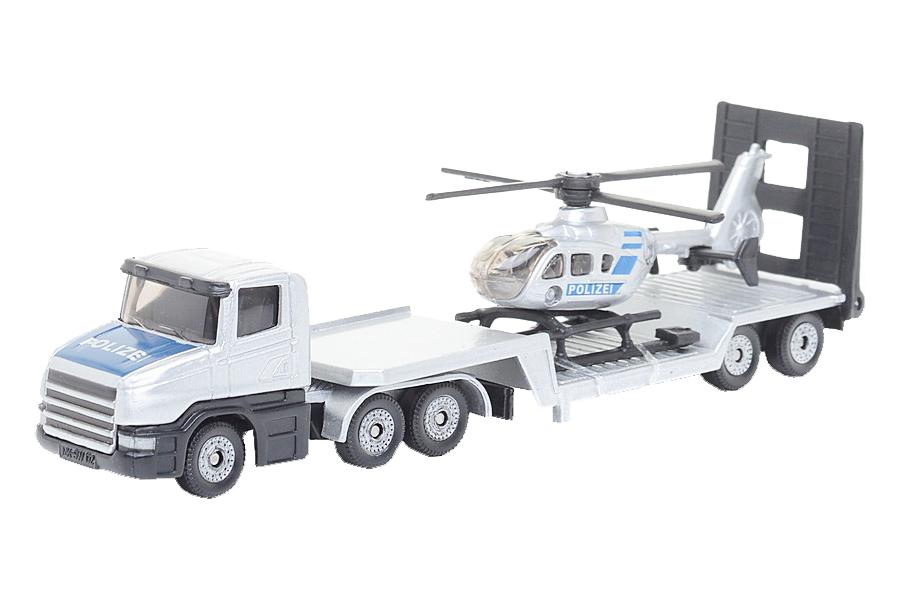 Купить Тягач с вертолетом полицейским 1610, Спецтехника Siku игрушка Тягач с Вертолетом полицейским 1610,