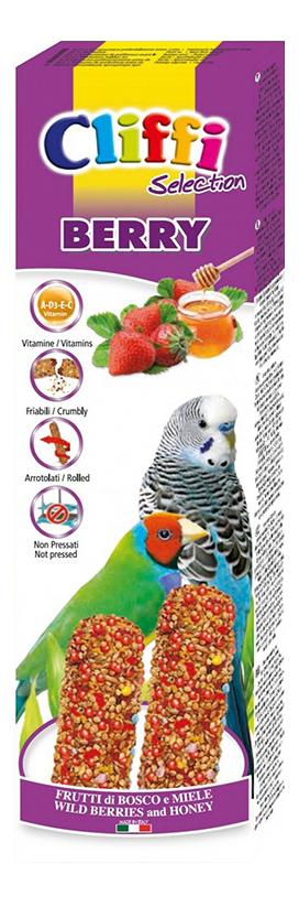 Лакомства для птиц Cliffi для волнистых попугаев и экзотических птиц,с ягодами и медом,60г фото