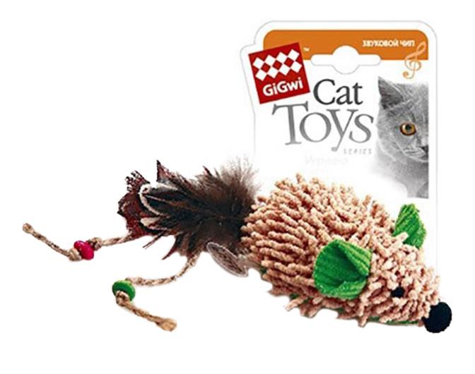 Мягкая игрушка для кошек Gigwi, Искусственный мех, Текстиль, Перо, 8 см