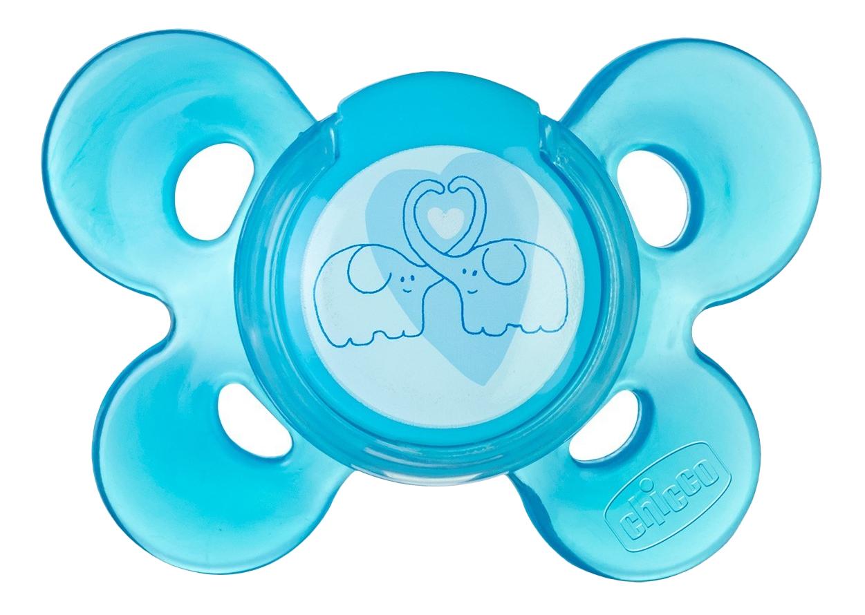 Силиконовая пустышка ортодонтическая Chicco Physio Comfort (голубая-слоники)