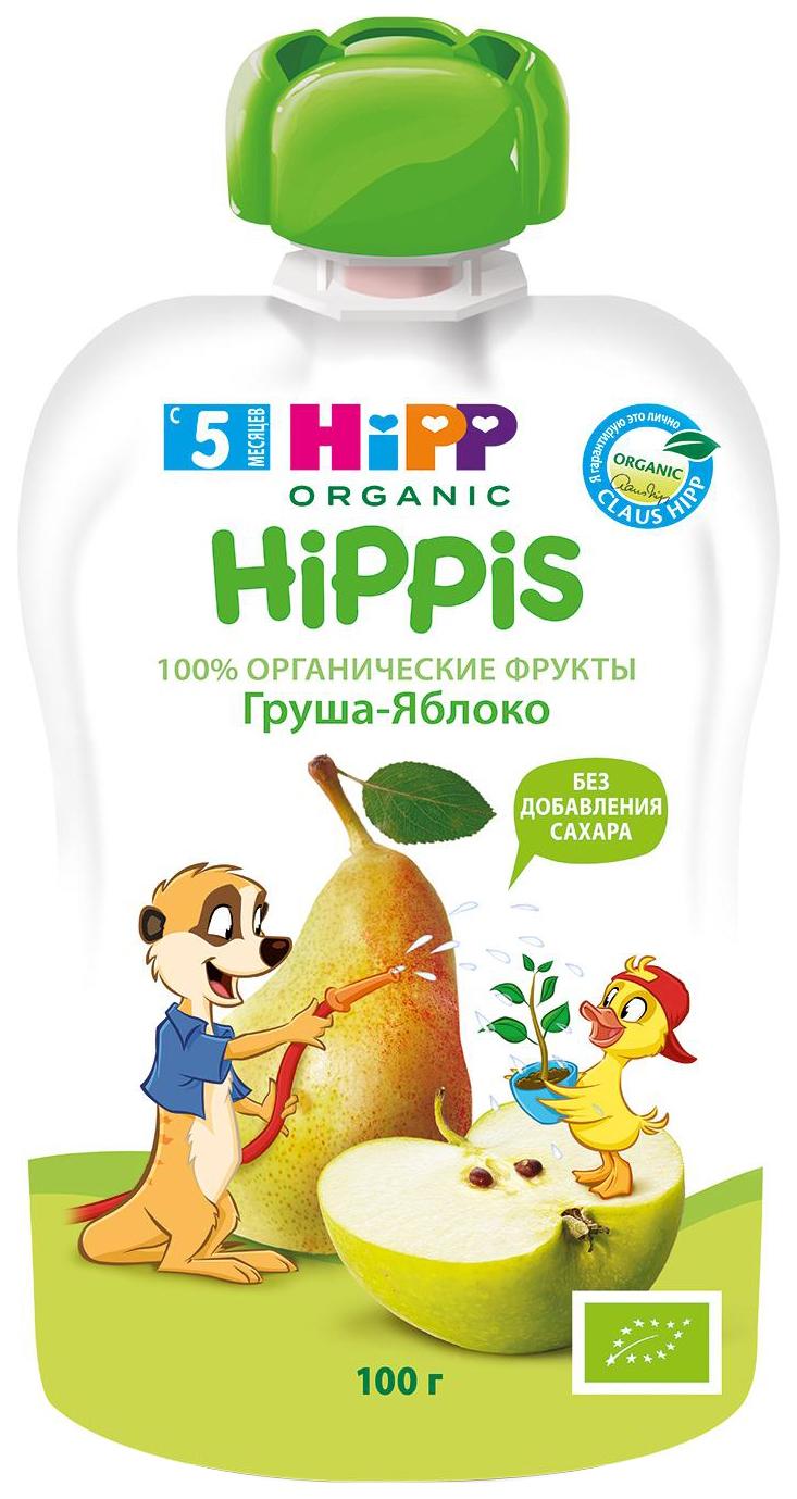 Купить Груша, яблоко 100 г, Пюре фруктовое HiPP Груша, яблоко с 5 мес 100 г, Детское пюре