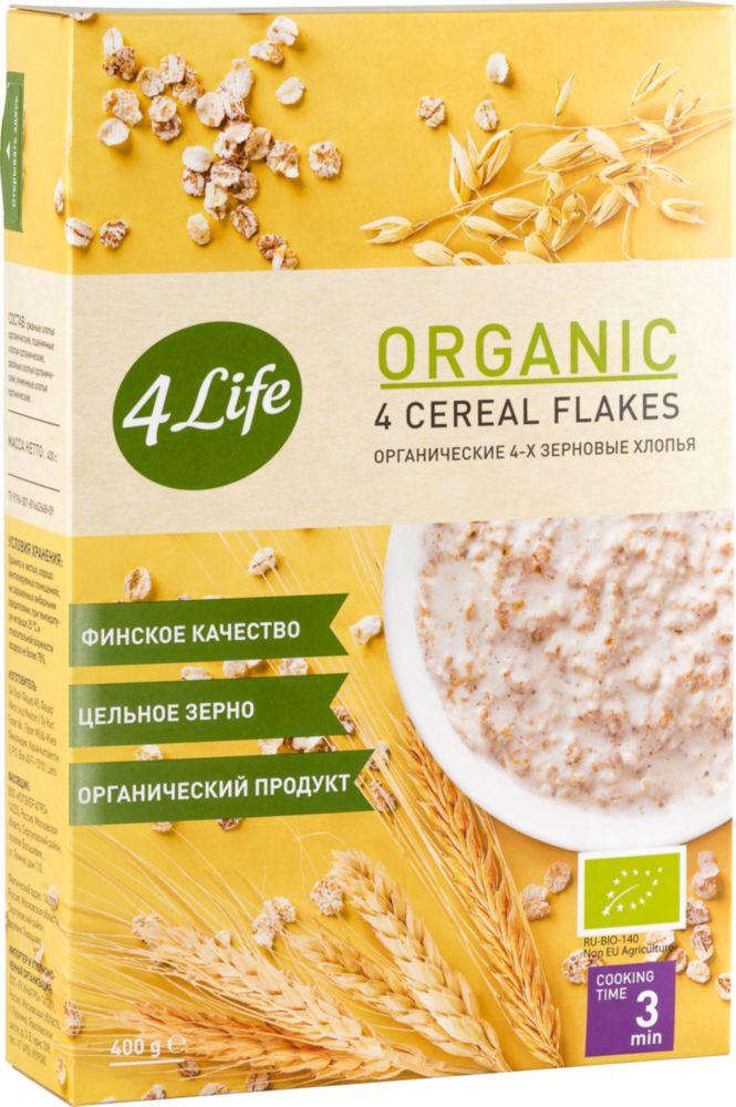 Хлопья 4-х зерновые 4 Life органические 400 г