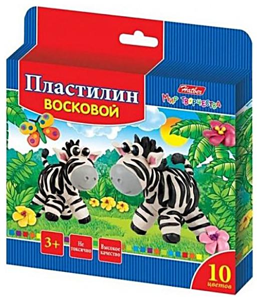 Пластилин восковой Hatber Забавные зверята 10 цветов 150г со стеком