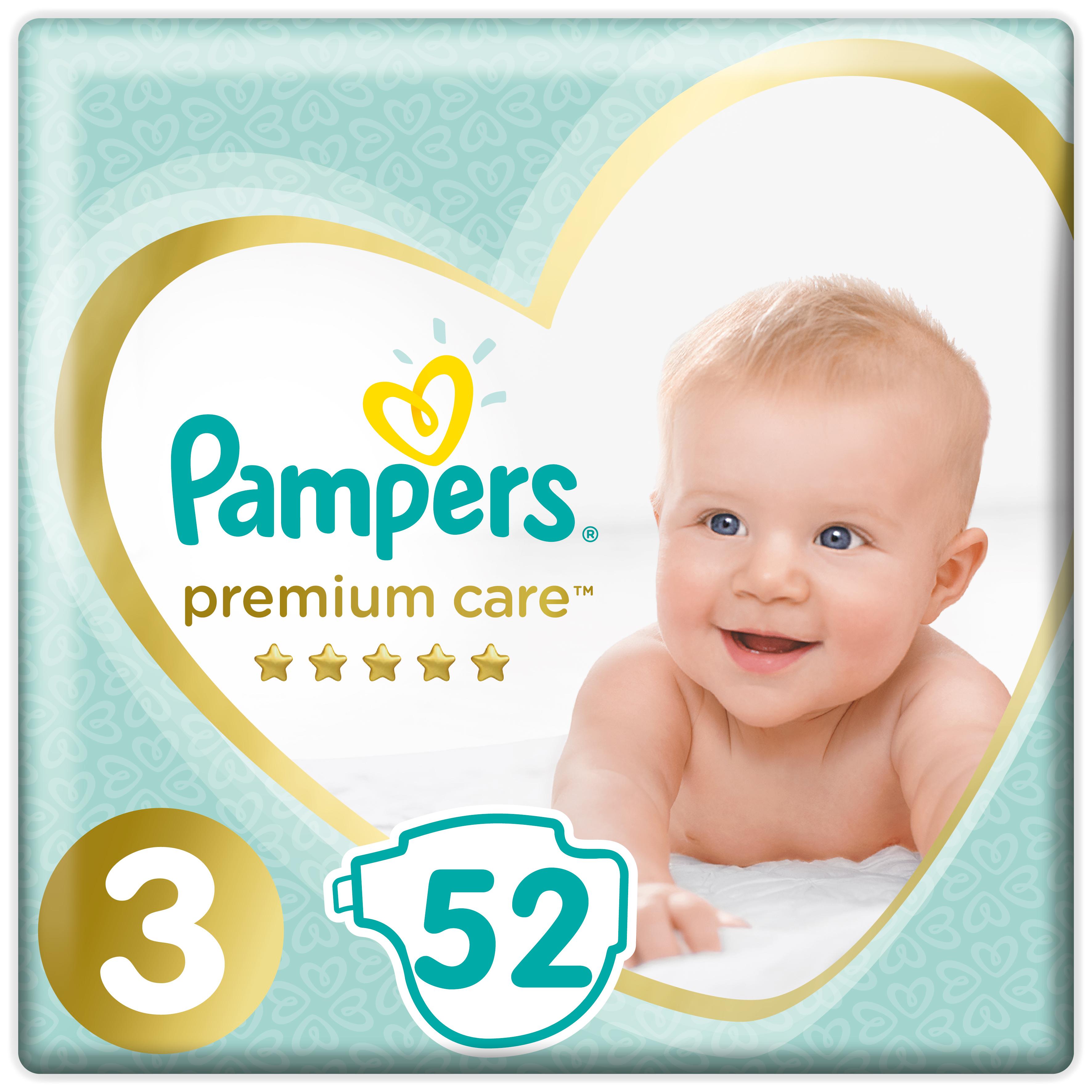 Купить Подгузники Pampers Premium Care Размер 3, 6-10кг, 52 штуки, Подгузники Pampers Premium Care Midi (6-10 кг) Экономичная 52 шт.