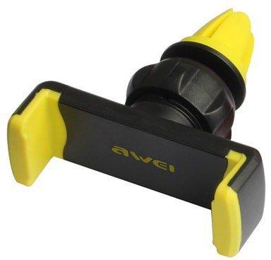 Держатель для телефона, на воздуховод, зажим, черный/желтый, X1-YEW, AWEI