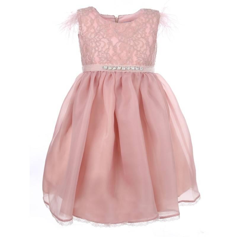 Купить 1571, Платье Пудра UNONA D'ART, цв. розовый, 128 р-р, Платья для девочек