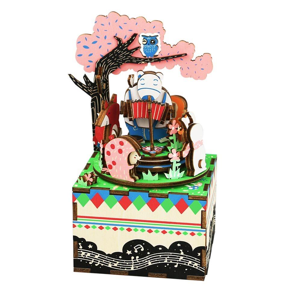 Купить 3D деревянный пазл Robotime Музыкальная шкатулка Лесной концерт AM404, Деревянные конструкторы