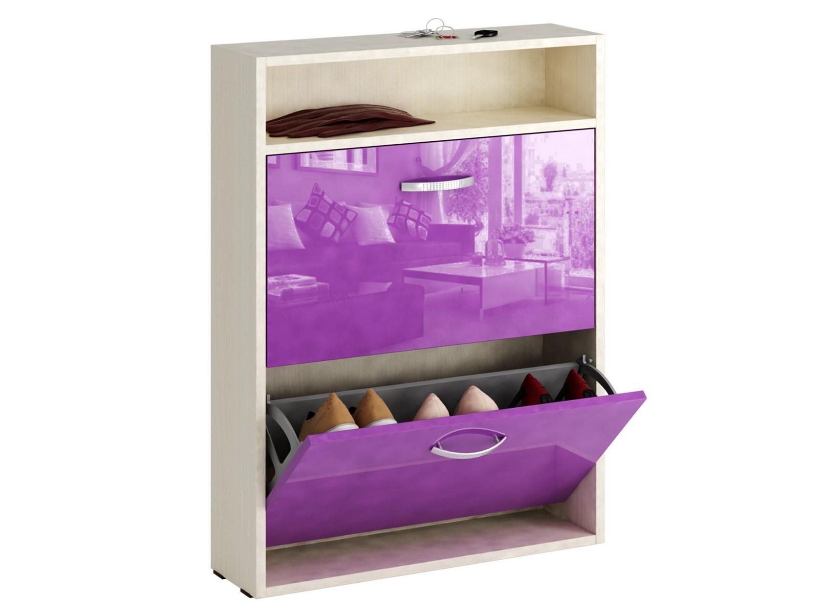 Обувница MFMaster Милан-25 МСТ-ОДМ-25У 60х17х88,2 см, дуб молочный/фиолетовый глянец