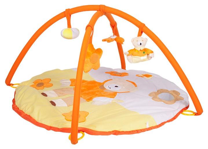 Купить Игровой развивающий коврик Mioshi Мягкий медвежонок , с подвесными игрушками, 85х85х45 см, Развивающие коврики и центры