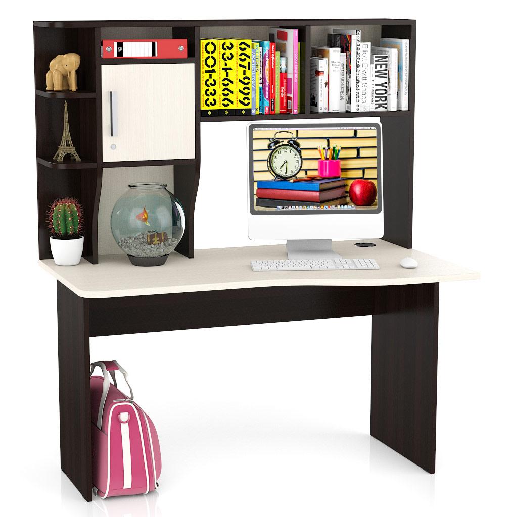 Компьютерный стол Мебельный Двор Лидер-5 130x76x154, венге/дуб