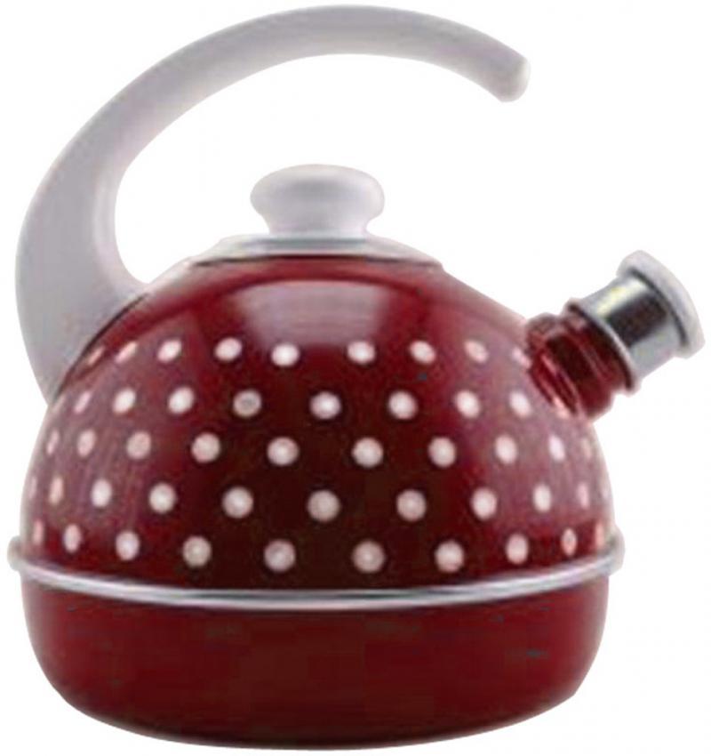Чайник эмалированный 3,5л бордо мал бел горохи