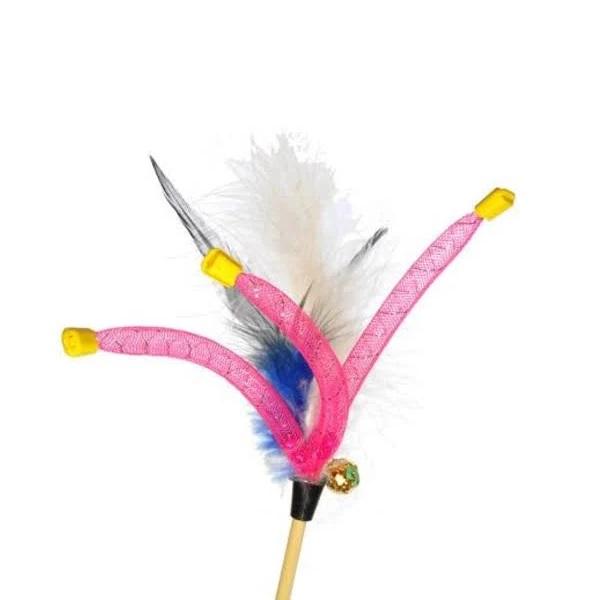 Игрушка для кошек Gosi Дразнилка с перьями и трубочками, 3x60см фото