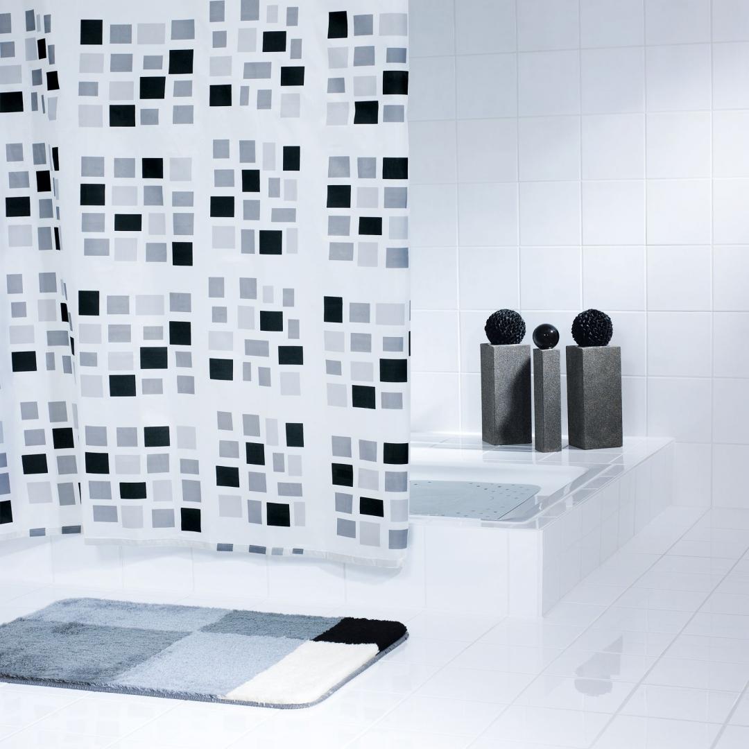 Штора для ванных комнат Stones белый/черный 180Х200