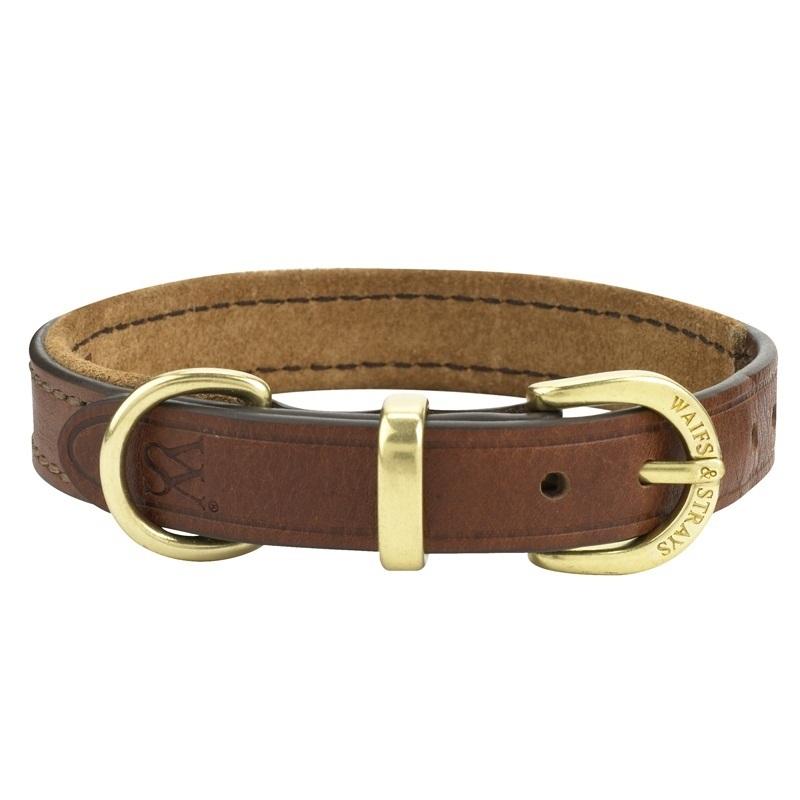 Ошейник W#and#S кожаный на замшевой подкладке для собак (L, Коричневый)