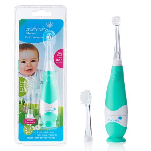 Детская электрическая щетка Brush-Baby BabySonic звуковая до 3-х лет бирюзовый,  - купить со скидкой