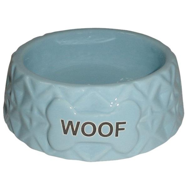 Миска для животных Foxie Diamond Woof голубая керамическая 16х16х5,5см 360мл