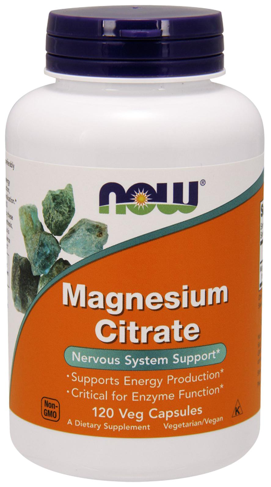 Купить Магний NOW Magnesium Citrate Caps 120 капс. без вкуса