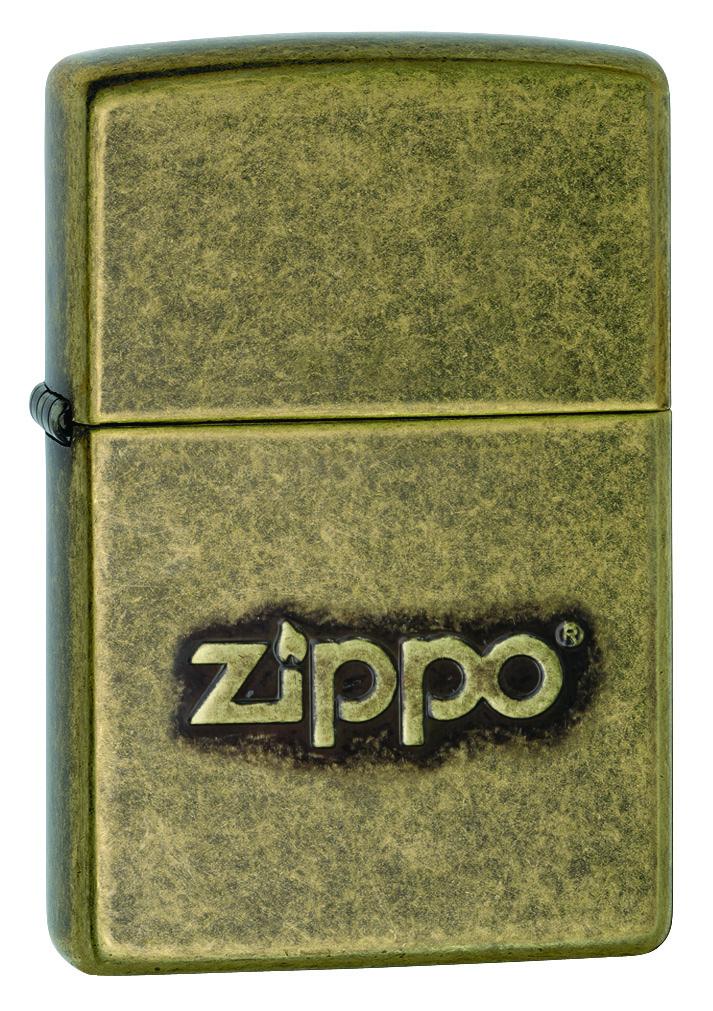 Зажигалка Zippo Logo Stamp Antique Brass фото