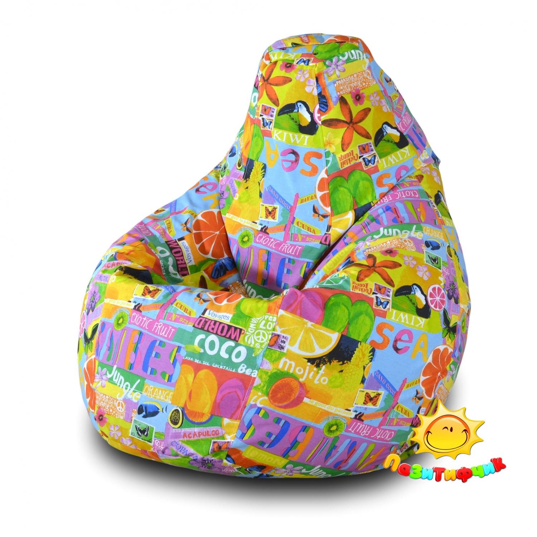 Кресло-мешок Pazitif Груша Пазитифчик Экзотик 04, размер XL, жаккард, разноцветный фото