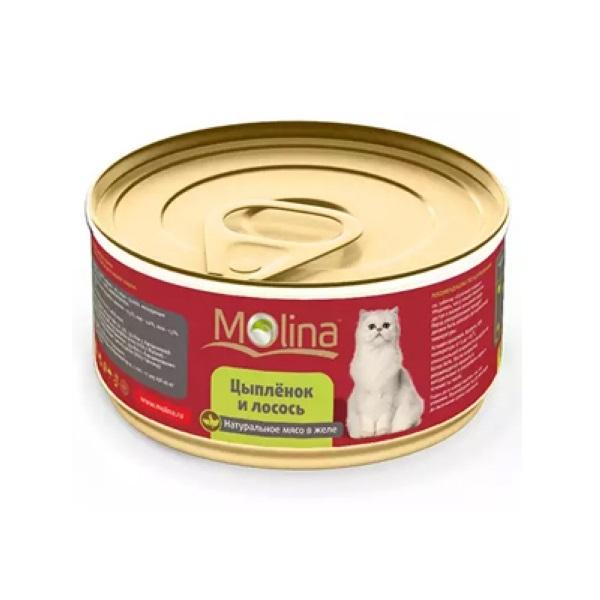 Консервы для кошек Molina, цыпленок и лосось, 80г