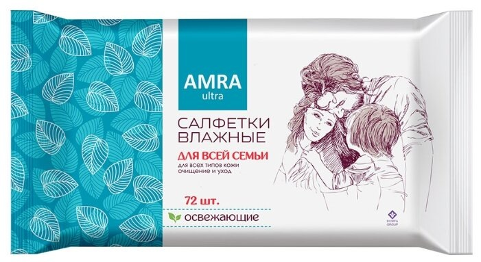 AMRA Влажные салфетки освежающие д/всей семьи 72 шт, , влажные салфетки 72 шт  - Купить