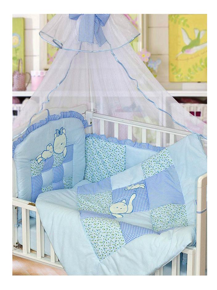 Комплект в кроватку Золотой гусь 7 предметов Кошки-мышки голубой