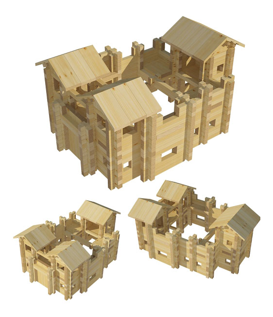 Купить Крепость №3, Конструктор Лесовичок Крепость 521 деталей, Деревянные конструкторы