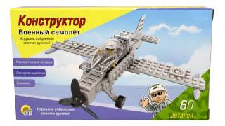 Купить Военный самолёт, Конструктор пластиковый Проф-пресс Военный самолет, Рыжий кот, Конструкторы пластмассовые