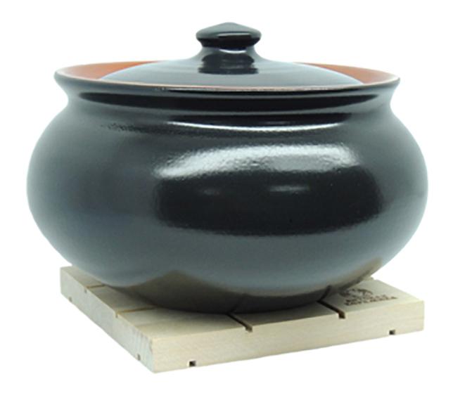 Крынка супница с деревянной подставкой 2,5л черный