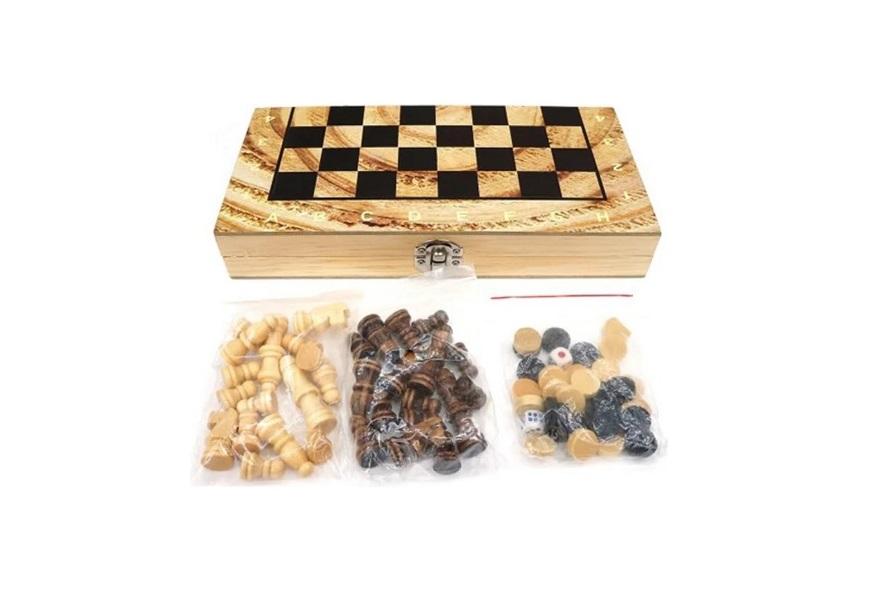 Семейная настольная игра Shantou Gepai Шахматы, шашки и нарды W2018-H фото