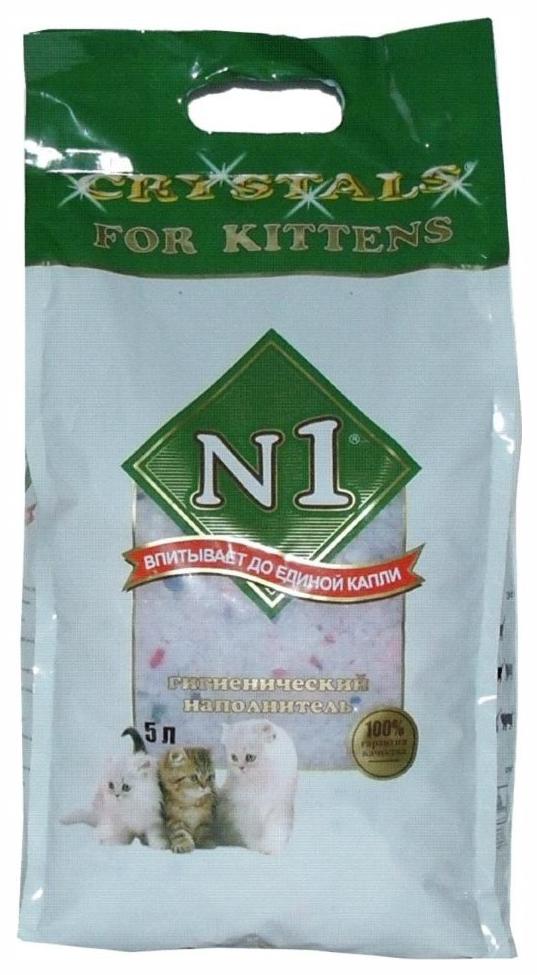 Наполнитель N1 Crystals For Kittens силикагелевый 5 л 2.04 кг без запаха
