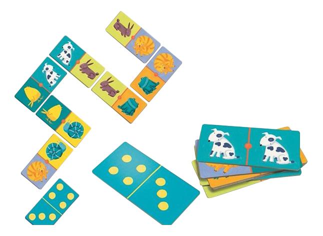 Семейная настольная игра Djeco Домино Цветные животные
