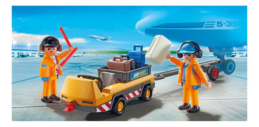 Игровой набор Playmobil PLAYMOBIL Буксир самолета с наземной командой фото