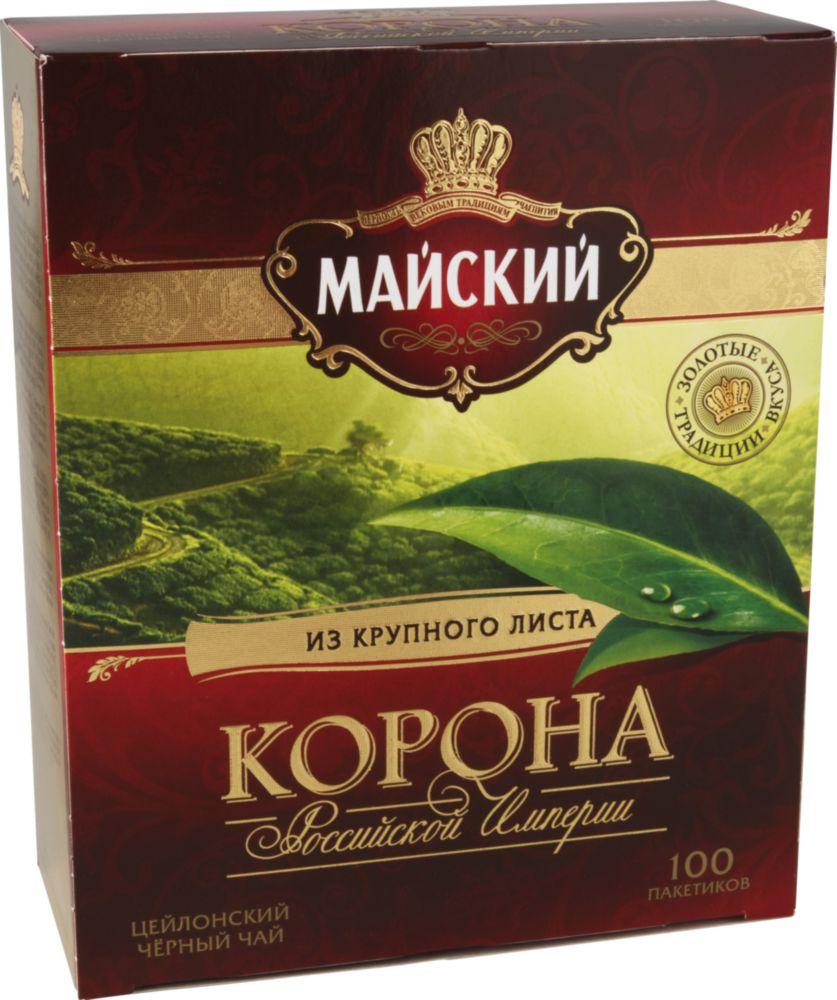 Чай черный Майский корона Российской Империи 100 пакетиков